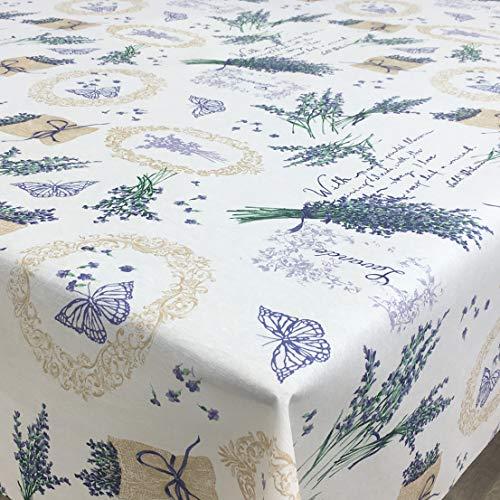 Franclaire Fabrics Lavande Jardin - Facile à Nettoyer - 140 cm de diamètre