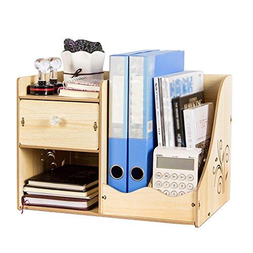 Zeitschriftenständer Bücherregal Holz Schreibtisch Zubehör Desktop Lagerregal Datei Magazin Rack Multilayer Schublade Größe 39x28x27.5cm ( Farbe : B ) (Datei Rack Für Die Schublade)