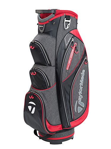 TaylorMade Golf 2018 Classic Cart Bag Mens Trolley Bag 14 Way Divider Black/Charcoal Heather/Red