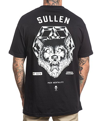 Sullen Clothing Herren T-Shirt Wolf Tattoo - Pack Mentality Mens Tee mit Backprint Schwarz