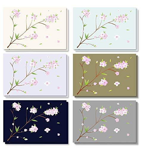 120-pack-alle Anlass sortiert blanko Vintage Note Karten Grußkarten Bulk Box Set-6verschiedene Japanische Kirschblüte Designs, Umschläge enthalten-10,2x 15,2cm (Schreibwaren Grußkarten)
