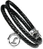 Lufetti® Lederarmband Love mit Buchstaben Namen Initialen, echtes Leder schwarz (L)