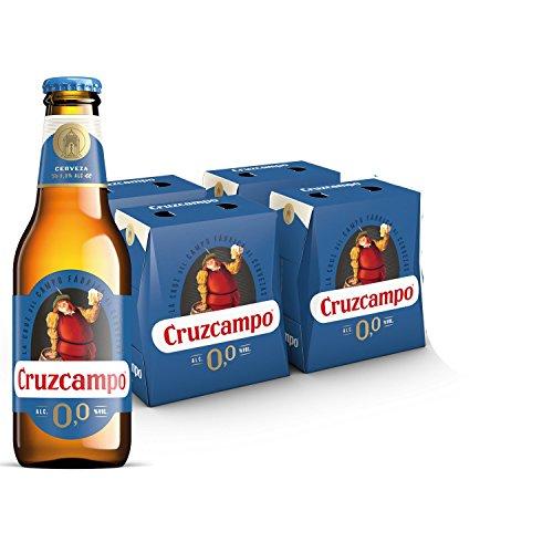 Cruzcampo 00 Beer - 4 Packs of 6 x Bottles 250 ml - Total: 6 L