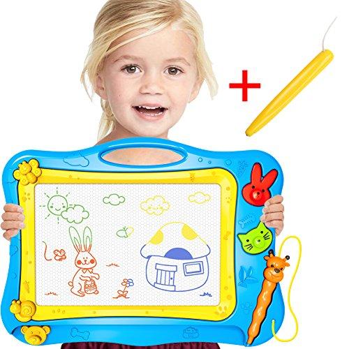 (Doodle Magnetisches Zeichenbrett + Bonus-Stift für Kinder/Kleinkind/Babys Reise – Magisches radierbares farbiges Schreiben/Kritzeln/Zeichnung/Skizzen/Scribble Pad Spielzeug mit 2 Formstempeln, Vorschul-Lern- und Lernspielzeug von Stwie)