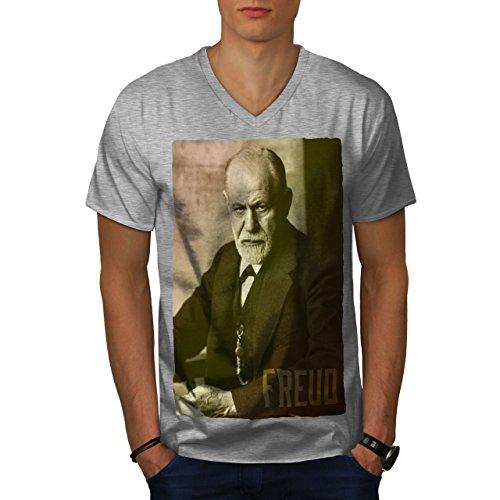 Kostüm Geld Juden - wellcoda Berühmtheit Sigmund Freud MännerV-Ausschnitt T-Shirt Berühmt Grafikdesign-T-Stück