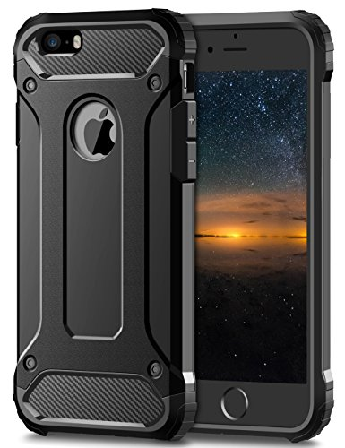 Coolden iPhone SE Hülle, Premium [Armor Serie] iPhone 5S Outdoor Stoßfest Handyhülle Silikon TPU + PC Bumper Cover Doppelschichter Schutz Hülle für iPhone 5/5S/SE (Schwarz)