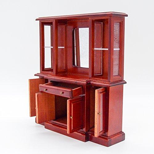 Odoria 1/12 Miniatur Möbel Vintage Buffetschrank Mit Spiegel Holz Braun Für  Puppenhaus Möbel Zubehör