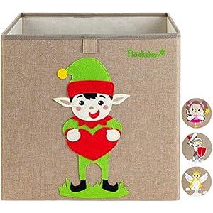 Flöckchen Kinder Aufbewahrungsbox, Spielzeugbox für Kinderzimmer I Spielzeug Box (33x33x33) passt ins Kallax Regal I…