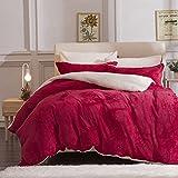 HUIYUE Betten 4pcs setzt,Lämmer Wolle Fleece Doppelseitige nähte Reine Farbe Plüsch Verdickt Weich Bett garnitur-A 220x240cm(87x94inch)