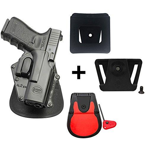Fobus Retention Pistolenholster Rotation drehen Paddle Holster mit Sicherheits-Rueckhalte + Gürteladapter + 6cm breiter Gürteladapter für Polizei und Dienstgürtel für Glock 17, 19, 22, 23, 31, 32, 34,