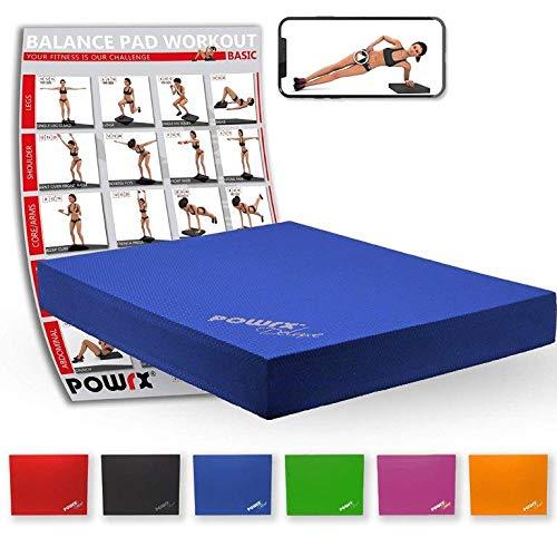 POWRX Balance Pad 40x34x5 cm inkl. Workout Ideal zum Training von Gleichgewicht, Stabilität und Koordinationstraining Versch. Farben (Blau)