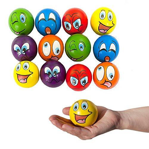 Preisvergleich Produktbild Oblique-Unique® 12 Stück Smiley Grimassen Knautschball Antistressball bunt Softball Schaumstoff