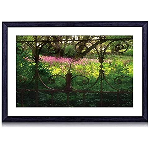 Valla de hierro forjado–-Art Print negro marco de madera para la pared arte 16x 12pulgadas)