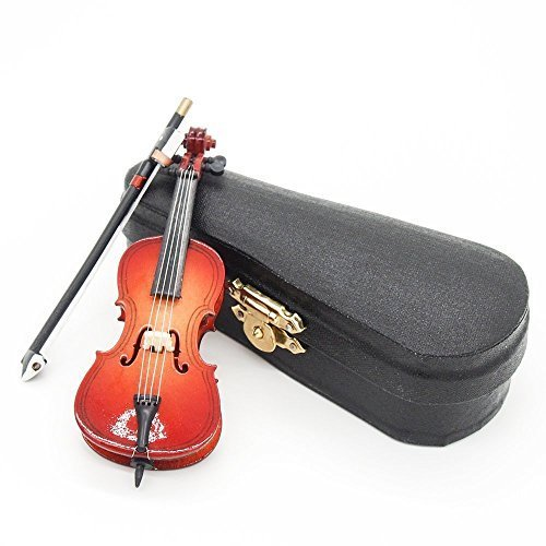 Odoria 1/12 Miniatur Cello mit Bogen Ständer und Koffer Für Musikinstrument Puppenhaus Dekoration Zubehör