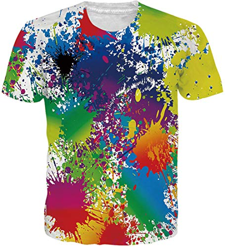 Hippie-grafik (Loveternal 3D T-Shirts Tie Dye Hippie Shirt Herren Casual Grafik Muster Kurzarm Tops T-Shirt L)