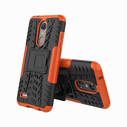 LAGUI Hülle Geeignet für LG K10/K11 2018, Stylisch Trend Schutzhülle Mit Ständer, Rugged TPU/PC Dual Layer Hybrid Handyhülle, Schützt Vor Stößen und Schlägen Outdoor Fall. Orange Orange Handy-fall