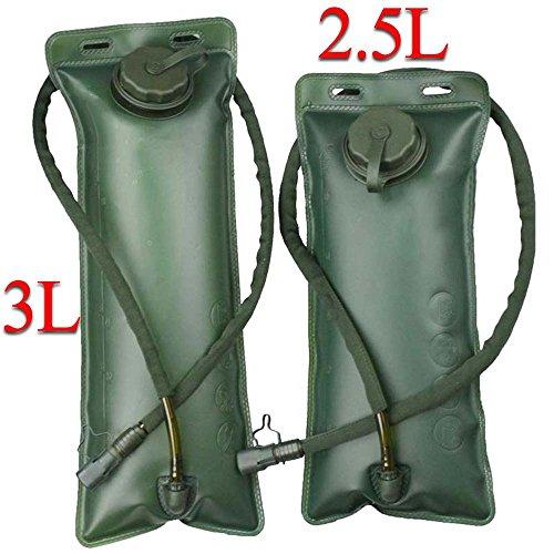 Idratazione Vescica Acqua Serbatoio di riserva 2.5L, 3L militare borsa di sopravvivenza, con valvola,/tubo isolante per ciclismo, campeggio, escursionismo, Olive Green, 2.5L(85oz)