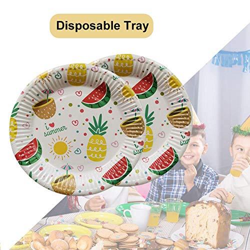 Nicololfle Pappteller Zum Einmalgebrauch,30/50 / 100pcs 7inch Ananas-Wassermelonen-Muster Pappteller 22,9 cm | Biologisch Abbaubar Und Kompostierbar Einweggeschirr Für Geburtstagsfeier -