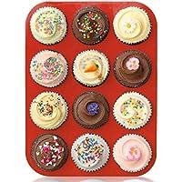 ZUOAO Piastra Antiaderente per Muffin Stampo per Torta in Silicone Cupcakes Baking Tray Mini Naturali Muffin Piccola Piastra con Coltello Plastica (12 Tazze) - Dozzina Muffins