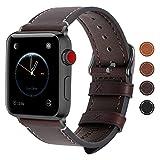 Fullmosa Apple Watch Armband 38mm und 42mm, Wax Series iWatch Leder Band/Armbänder für Apple Watch Series 3, Series 2, Series 1,38mm Uhrenarmband,Kaffeebraun + Dunkelgrau Schnalle