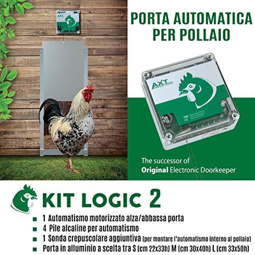 Porta Automatica crepuscolare per pollaio Kit Logic 2 (Alluminio, Porta Misura S cm 22x33h)