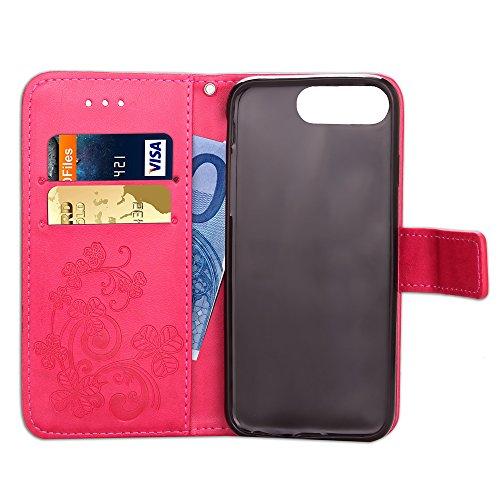 iPhone 7 Plus Hülle,Leder Hülle für iPhone 7 Plus,iPhone 7 Plus Schwarz Leder Handy Tasche Wallet Case [Heavy Duty] [Hinterbauständer Feature] Cover Etui für iPhone 7 Plus 5.5 Zoll 2016,EMAXELERS iPho A Clover 1
