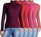 5x Damen Frauen Langarm Rollkragen - Rolli - Rollkragenshirt - Turtleneck T Shirt - 5er Pack - Basic TShirt Tops - 5 in 1 - Weinrot + Rot + Fuchsia + Pink + Korale