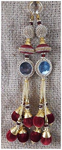 2 PC India Decorative Hanging Tassel Latkan Fringe Blouse Choli Green Gold...