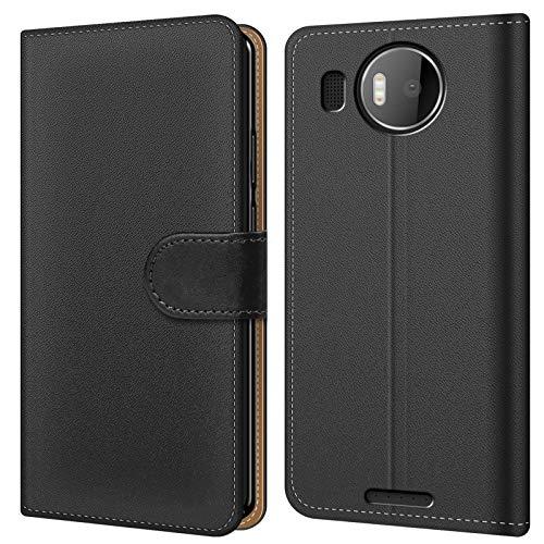 Conie BW20467 Basic Wallet Kompatibel mit Microsoft Lumia 950 XL, Booklet PU Leder Hülle Tasche mit Kartenfächer & Aufstellfunktion für Lumia 950 XL Case Schwarz