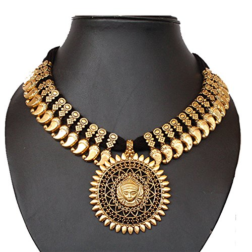 Handmade Oxidised German Silver Gold Tone Thread Necklace of Load Durga Pendent by Kaizer Jewelry