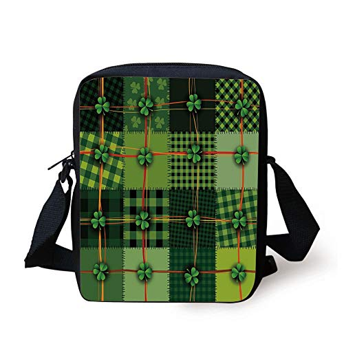 Irish,Patchwork Style St. Patricks Day Themed Celtic Quilt Cultural Checkered with Clovers Decorative,Multicolor Print Kids Crossbody Messenger Bag Purse