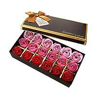 TEEROVA 18Pcs Rose Soap Flower Handmade Rose Scented Bath Soap Petals in Gift Box (A)