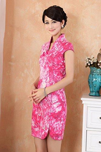 Bigood Rétro Style Robe Femme Cheongsam Soirée Manche Courte Imprimé Rose Rouge