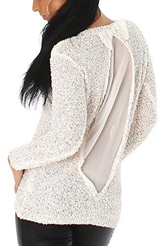 Jela London Damen Pailletten-Pullover mit transparentem Rückenteil & Schleife (Einheitsgröße 36 38 40) White