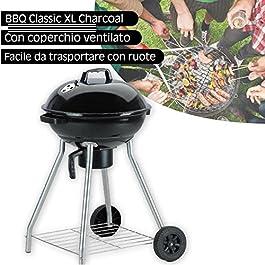 BAKAJI Barbecue Rotondo a Carbone Griglia 45 cm 2 Ruote con Coperchio e Ripiano D'appoggio Porta Oggetti BBQ Collection