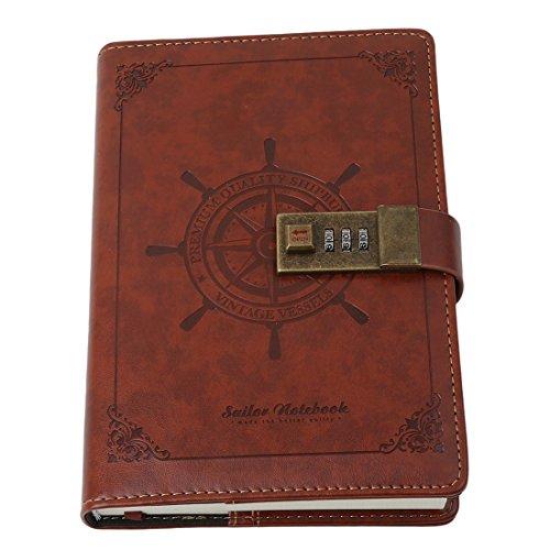 VWH Tagebuch mit Passwort, Spiralnotizbuch, modernes Design, Kunstleder, mit Zahlenschloss, Kartenfächern, Stifthalter (Braun)