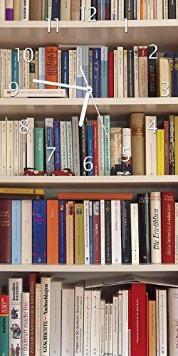 Wallario Design Wanduhr Weißes Bücherregal mit unterschiedlichen Büchern aus Acrylglas, Größe 30 x 60 cm (Bücherregal-bibliothek-wand)