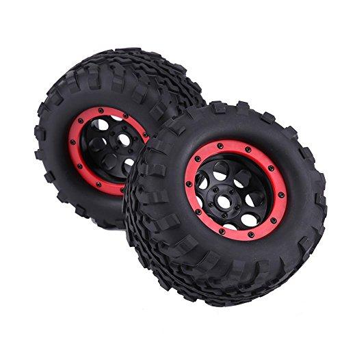 Dilwe 2/4pcs Reifen & Naben Set, Metall Rad Felgen Naben und Gummi Reifen für 1: 8 RC LKWs(2 Stück)