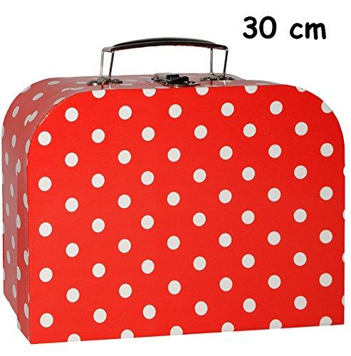 alles-meine.de GmbH 3 Stück _ Koffer / Kinderkoffer - GROß -  rot & weiße Punkte  - 30 cm - Pappkoffer - Puppenkoffer - Kinder - Pappe Karton - gepunktet / Polka Dots - ideal f.. Circa Dot