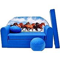 Preisvergleich für PRO COSMO C29Kinder Sofa Bett mit Puff/Fußbank/Kissen, Stoff, Mehrfarbig, 168x 98x 60cm