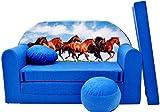 PRO COSMO C29Kinder Sofa Bett mit Puff/Fußbank/Kissen, Stoff, Mehrfarbig, 168x 98x 60cm