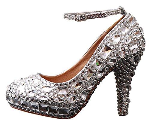 Miyoopark , Bride de cheville femme Silver-12cm Heel