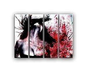 BLOODY SUNDAY 4 teiliges Wandbild je 30x100cm (Gesamt:130x100cm)Frau Emotion Leinwand auf Spannrahmen fertig zum aufhängen auf Leinwand Fertig Gerahmt Kult Bild Paul Sinus fertig gerahmt auf Holzrahmen - Lounge Bild mit Bilderrahmen - ein Edel Poster als Leinwand Kunstdruck - Wandbild mit Rahmen modernes Keilrahmenbild - farbenfrohe und intensive Impressionen für Ihr Wohnzimmer Büro Lounge Küche Schlafzimmer usw. Abstrakte Kunst Pop Art