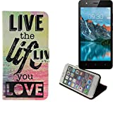 K-S-Trade Für TP-LINK Neffos C5A 360° Wallet Case Schutz Hülle ''live The Life You Love'' Schutzhülle Handy Hülle Handyhülle Handy Tasche Etui Smartphone Flip Cover Flipstyle für TP-LINK Neffos C5A