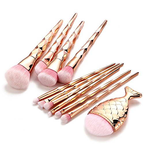 SMILEQ 11 STÜCKE Make-Up Foundation Augenbraue Eyeliner Erröten Kosmetik Concealer Pinsel (11PCs, Gold)