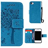 BoxTii iPhone 4 / iPhone 4s Case + Free Tempered Glass Screen Protector, Premium Leather Case with [Wrist Strap], Book Style Flip Wallet for Apple iPhone4 / iPhone4s (#5 Blue)