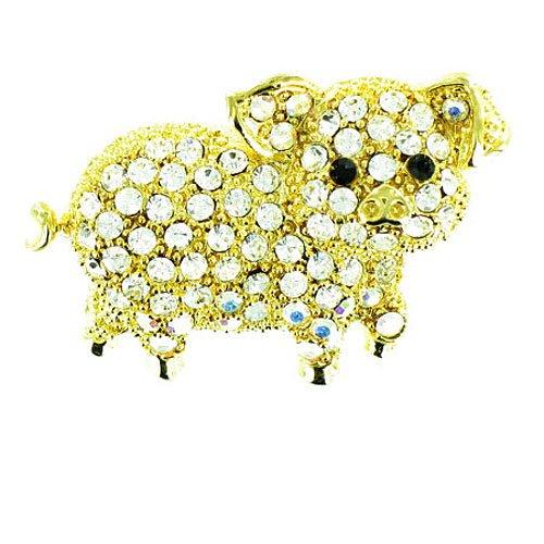 Body Bling Brosche Schweinchen vergoldet Glaskristall