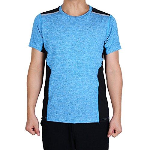 Ärmeln Golf (sourcingmap Erwachsene Männer Polyester Short Ärmel Sportkleidung T-Shirt Golf Tennis Sport Hemd Blau M)
