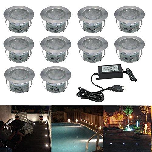 10x Lampe de Spot LED pour Terrasse Enterré Plafonnier, IP67 Acier inoxydable DC 12V 1W Eclairage Encastré Exterieur pour Chemin Contremarches d'escalier Piscine, Blanc Froid