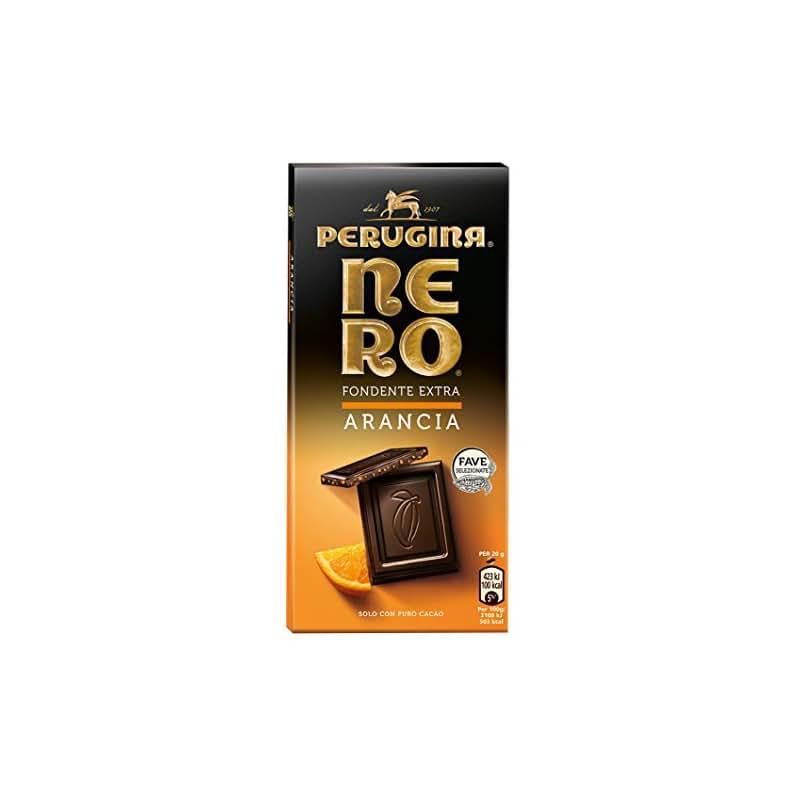 Nero Perugina Fondente Extra Arancia, Tavoletta di Cioccolato Fondente con Granella di Arancia
